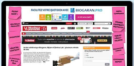Exemple de campagne de communication : Campagne - Biogaran Site internet pro avec Newsmed